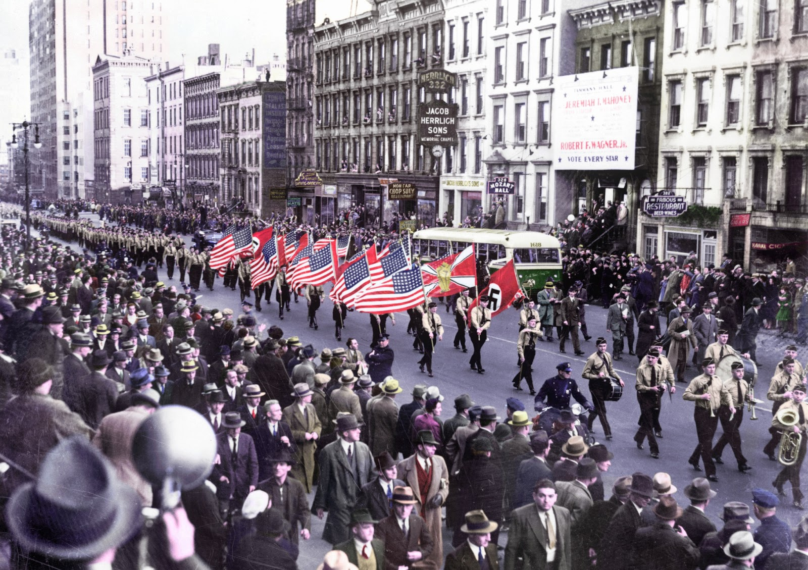1939-10-30 - German American Bund parade on East 86th St., New York City, New York (and then, ''The Blues Brothers'' happened..)